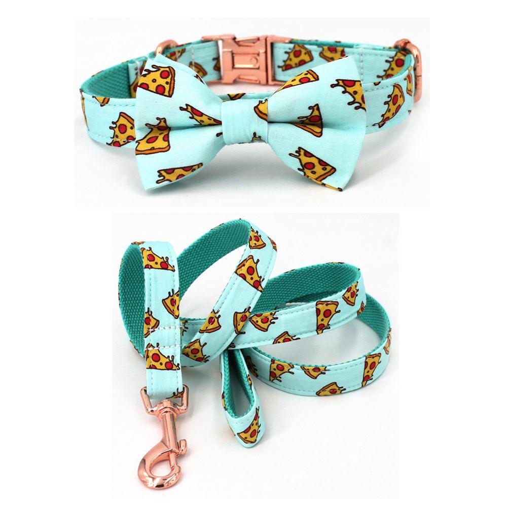 Collier et laisse de chien de modèle de Pizza populaire avec le noeud papillon pour le grand et le petit collier de tissu de coton de chien boucle en métal d'or rose