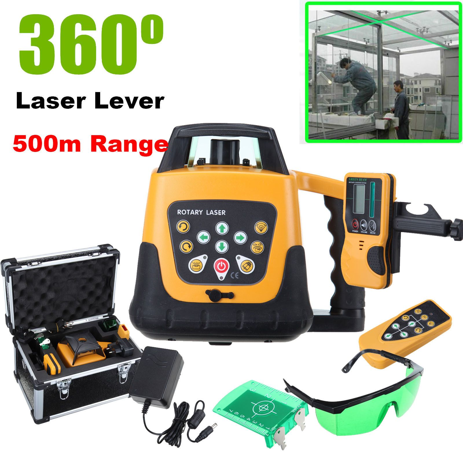 Selbst nivellierung Rotary/Rotierenden Green Laser Level Kit Mit Fall 500 mt Palette