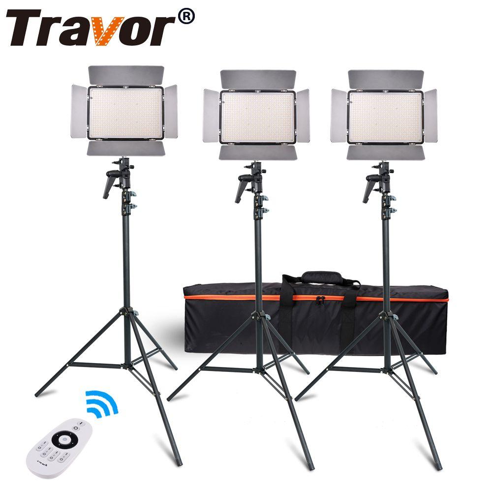 Travor TL-600A 2.4G Kit Bi-Color Led Video Light 3200K~5500K for photography Shooting+three Light+6pcs Battery+3 light Standing