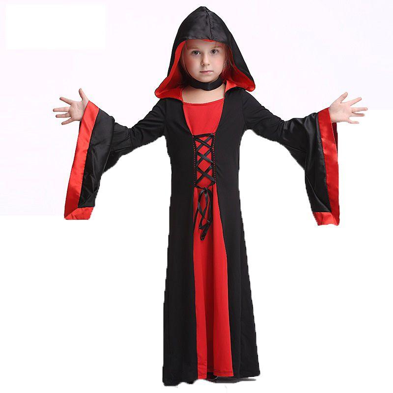Делюкс Дети средневековый черный готический костюм ведьмы Toddle Обувь для девочек дьявол волшебница Хеллоуин костюм для ребенка Косплэй вед...