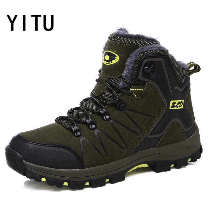 YITU Mans Winter Hiking Shoes Outdoor Sports Winter Sneakers Big Size Trekking Hunting Boots Breathable Warming Climbing Shoes