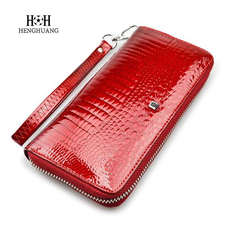 Luxury Brand Genuine Leather Women Wallet Alligator Ladies Long Crocodile Leather Wristlet <font><b>Clutch</b></font> Bag Card holder Coin Purse