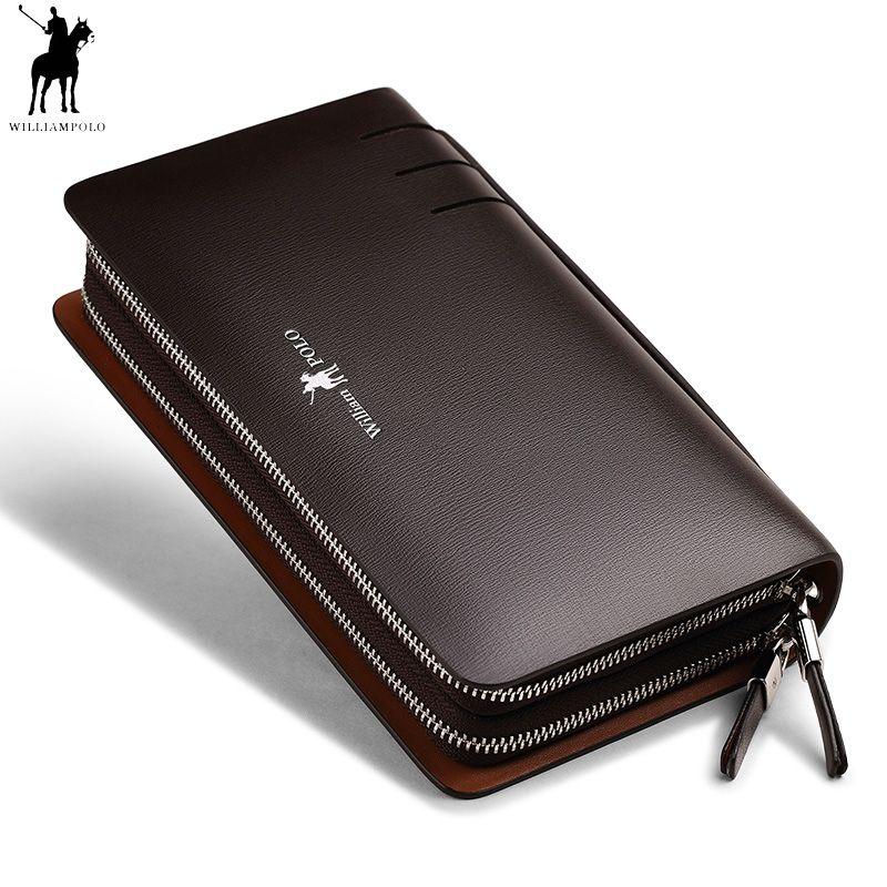 Mode Männer Aus Echtem Leder Kupplung Brieftasche Williampolo Doppel Zipper Handliche tasche Telefon Kreditkarte Halter Organizer Business Tasche