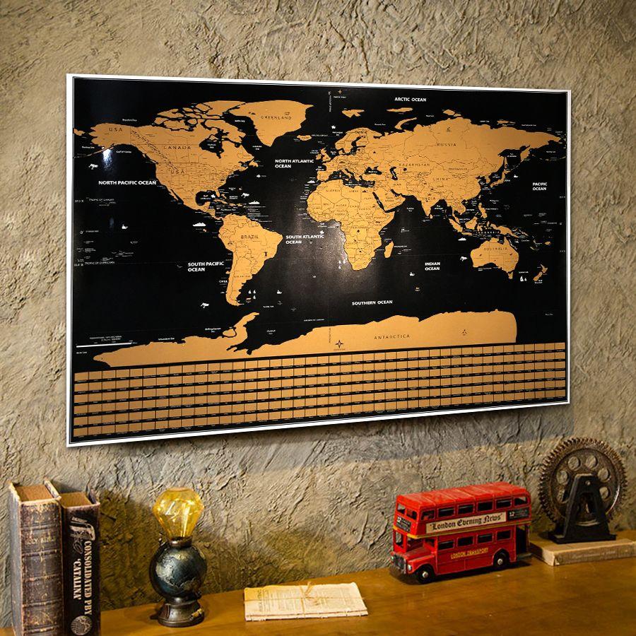 Deluxe Welt scratchable off Map Vintage poster Retro Ozean poster bar cafe pub hause geographie geschenk Reise abenteuer flagge karte