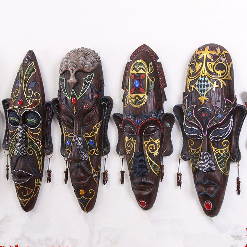 Fantastic Wild Colored Drawing African Figures Mask Wall Hanging with Earrings Original Creative Restoring Ancient KTV Bar Decor