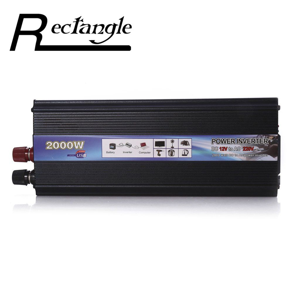 Rectangle Car Inverter 2000W DC 12V to AC 220V Power Inverter Charger <font><b>Converter</b></font> Sturdy and Durable Vehicle Power Supply Switch