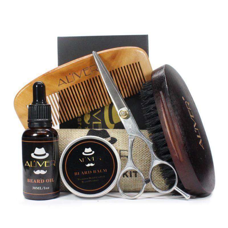 Marque Nouveau Hommes Moustache Crème Barbe Huile Kit avec Moustache Peigne Brosse Sac De Rangement 5 pcs/ensemble avec la boîte