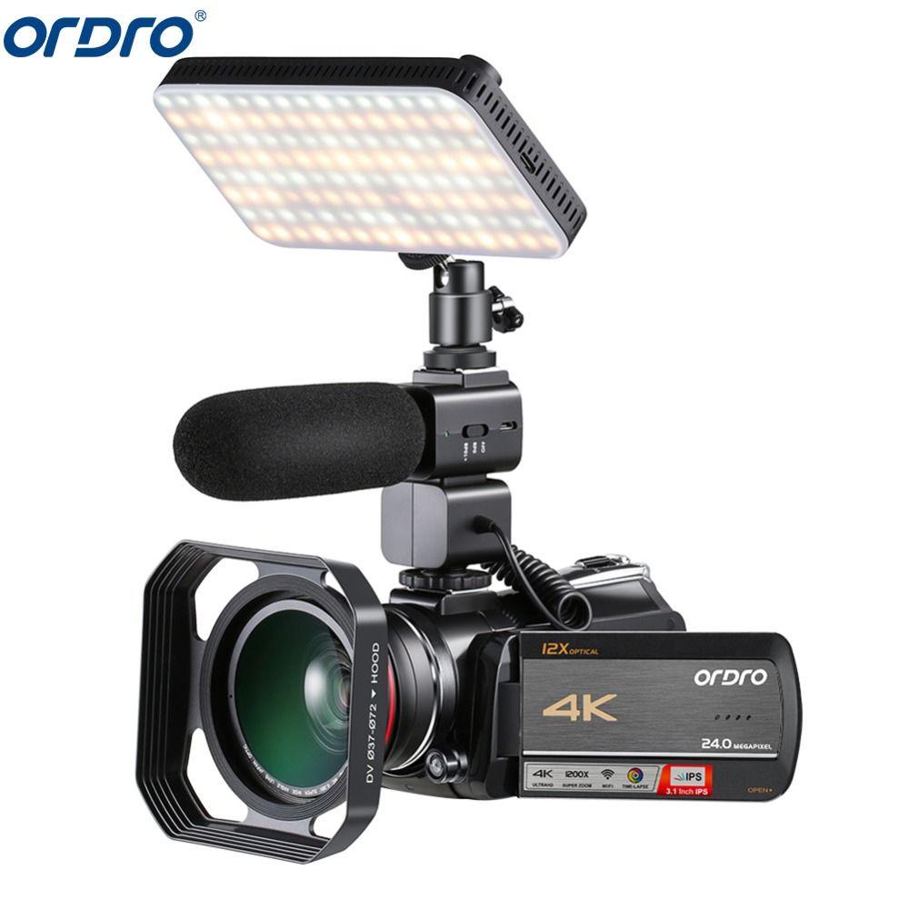 Ordro AC5 4 K 12X Optische Zoom 24MP WiFi IPS Touchscreen Digital Kamera + Objektiv Haube + Weitwinkel objektiv + Mikrofon + led Licht + Handheld