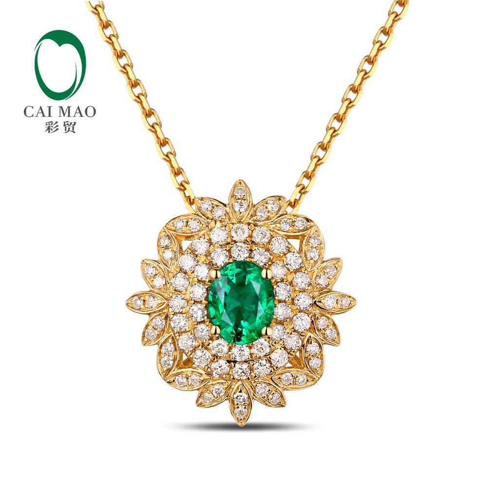 Caimao Natural Emerald 0.25ct 14K Yellow Gold Engagament 0.32ct Diamond Pendant