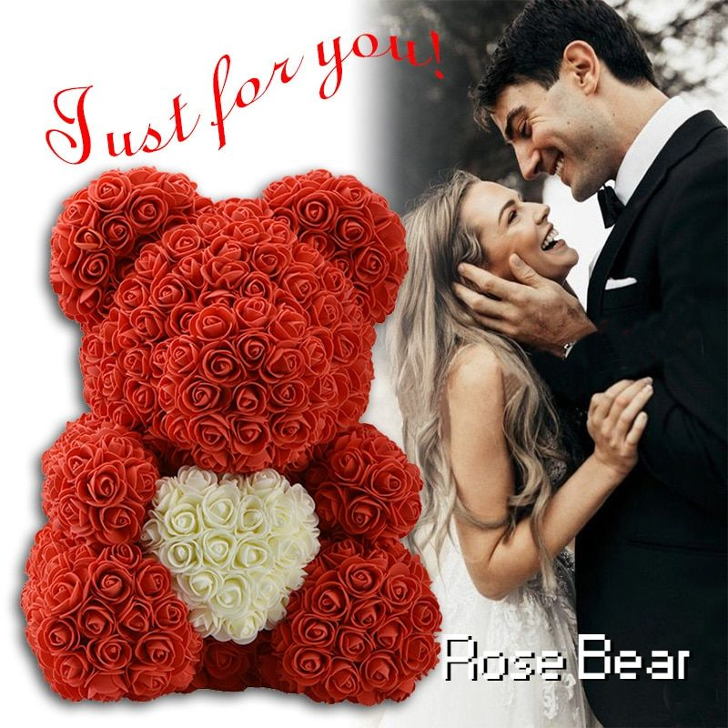 2019 DropShipping 40cm with Heart Big Red Teddi Bear Rose Flower Artificial Decoration Christmas Gifts for Women Valentines Gift