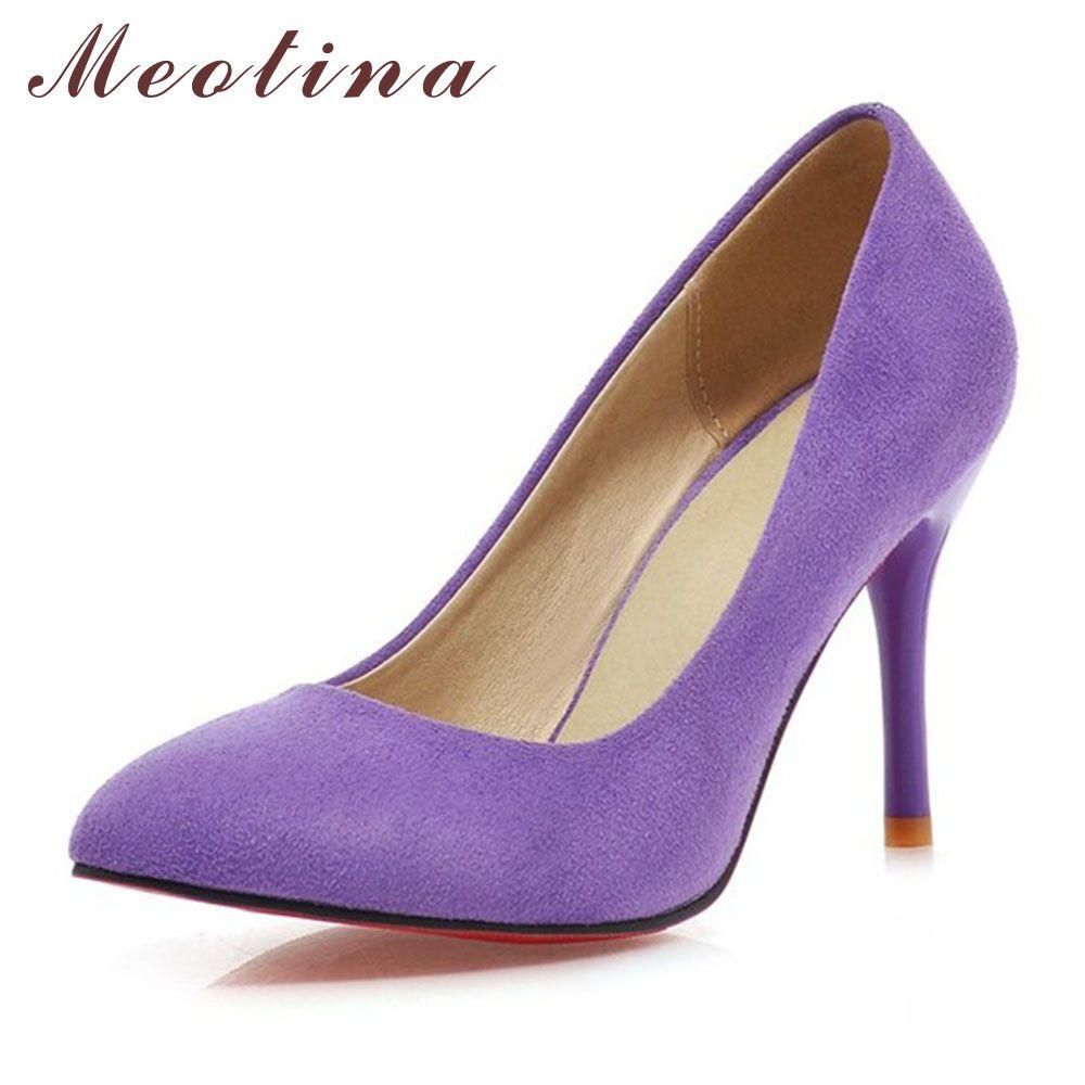 Meotina Chaussures Femmes Talons Hauts Pompes Troupeau Bout Pointu Femmes Pompes Dames Chaussures À Talons Hauts Grande Taille 9 10 43 bleu Violet
