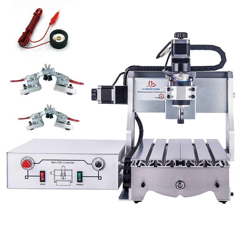 Cheap mini cnc engraving machine 3020 300w desktop wood router lathe with knife tool setting