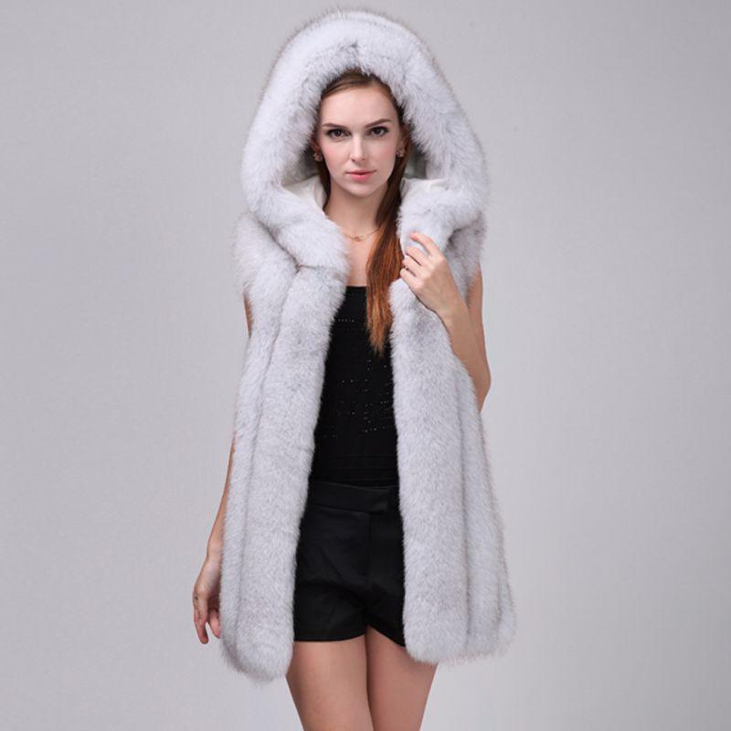 LIYAFUR Women's 100% Real Genuine Full Pelt Fox Fur Long Sleeveless Hooded Vest Waistcoat Gilet Custom Made