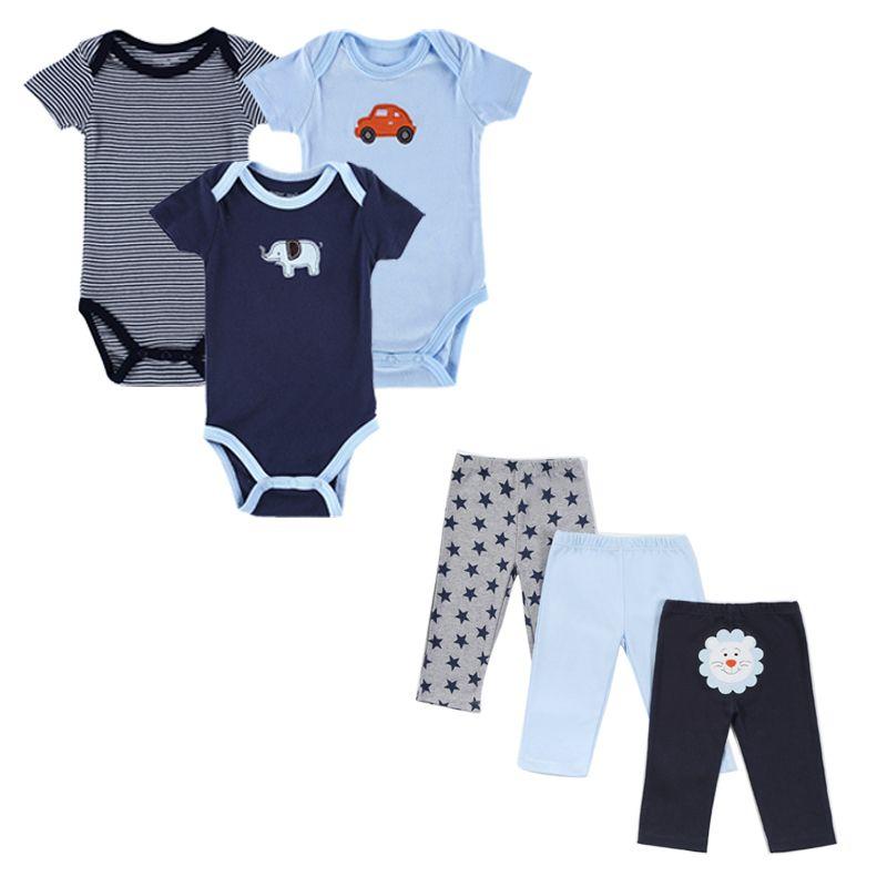 2017 Monther Nest marque bébé garçon vêtements 6 Pcs/lot infantile combinaison à manches courtes été bébé vêtements ensemble été garçon fille
