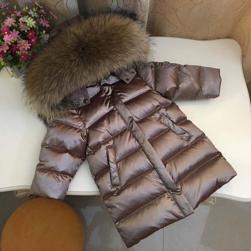 Новинка 2017 года для маленьких девочек Зимний пуховик Куртки Дети с капюшоном 90% вниз Пальто для будущих мам толстые детские теплые парки для...