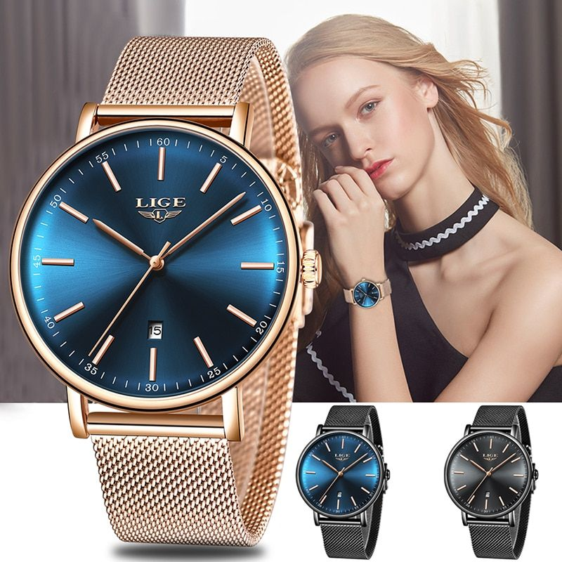 LIGE Women Watches Top Brand Luxury Ladies Mesh Belt Ultra-thin Watch Stainless Steel Waterproof Clock Quartz Watch Reloj Mujer