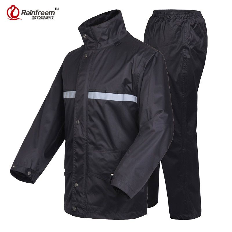 Rainfreem бренд непроницаемой плащ Для женщин/Для мужчин куртка Брюки для девочек комплект взрослых пончо от дождя толстые полиции Дождевики и ...