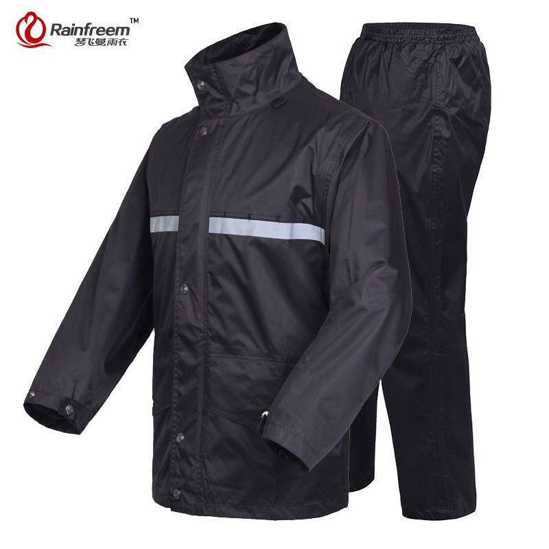 Rainfreem Brand Impermeable Raincoat Women/Men Jacket Pants Set Adult Rain Poncho Thick Police Rain Gear Motorcycle Rainsuit