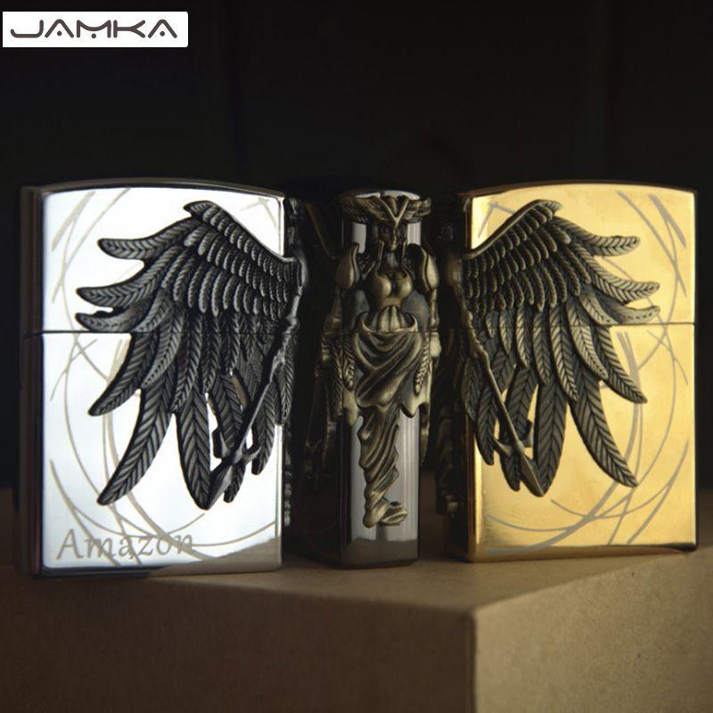 16 Style Art Relief disponible rétro métal sculpture briquets broyeur feu allume-cigare gonflable gaz Butane fumeur meilleur cadeau