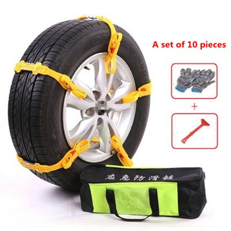 10pcs Universal Adjustable Car Winter Tires Wheel Anti-skid Chains 145-285mm TPU Thickened Tire Wheel Chain for Snow Mud Road