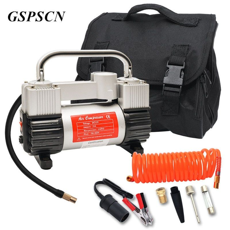 GSPSCN Low Noise Double Cylinder Car Air Compressor Car Tire Inflatable Pump for Car Emergency With Handbag 1 Year Warranty