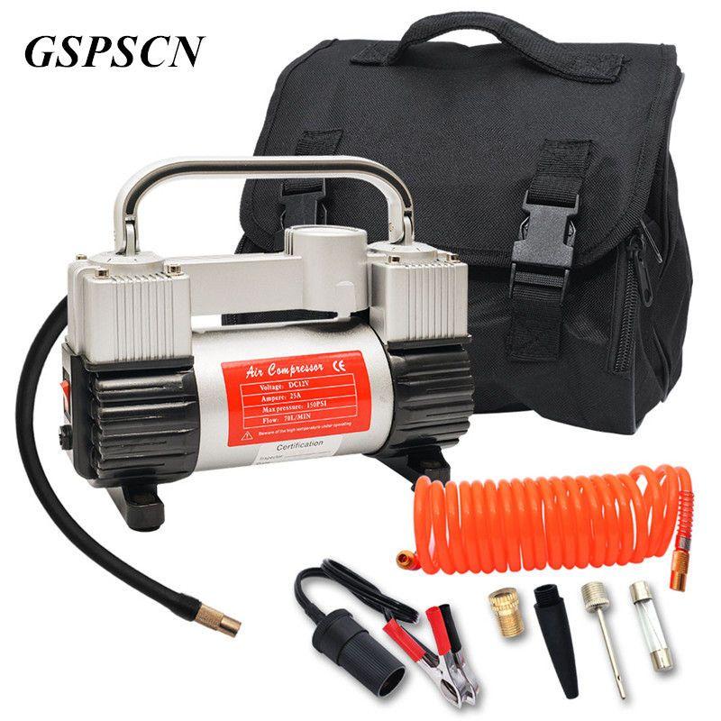 Gspscn низкая Шум двойной цилиндр автомобильный компрессор автомобильный шин Насосы для автомобиля аварийной ситуации с сумочкой гарантия 1 г...