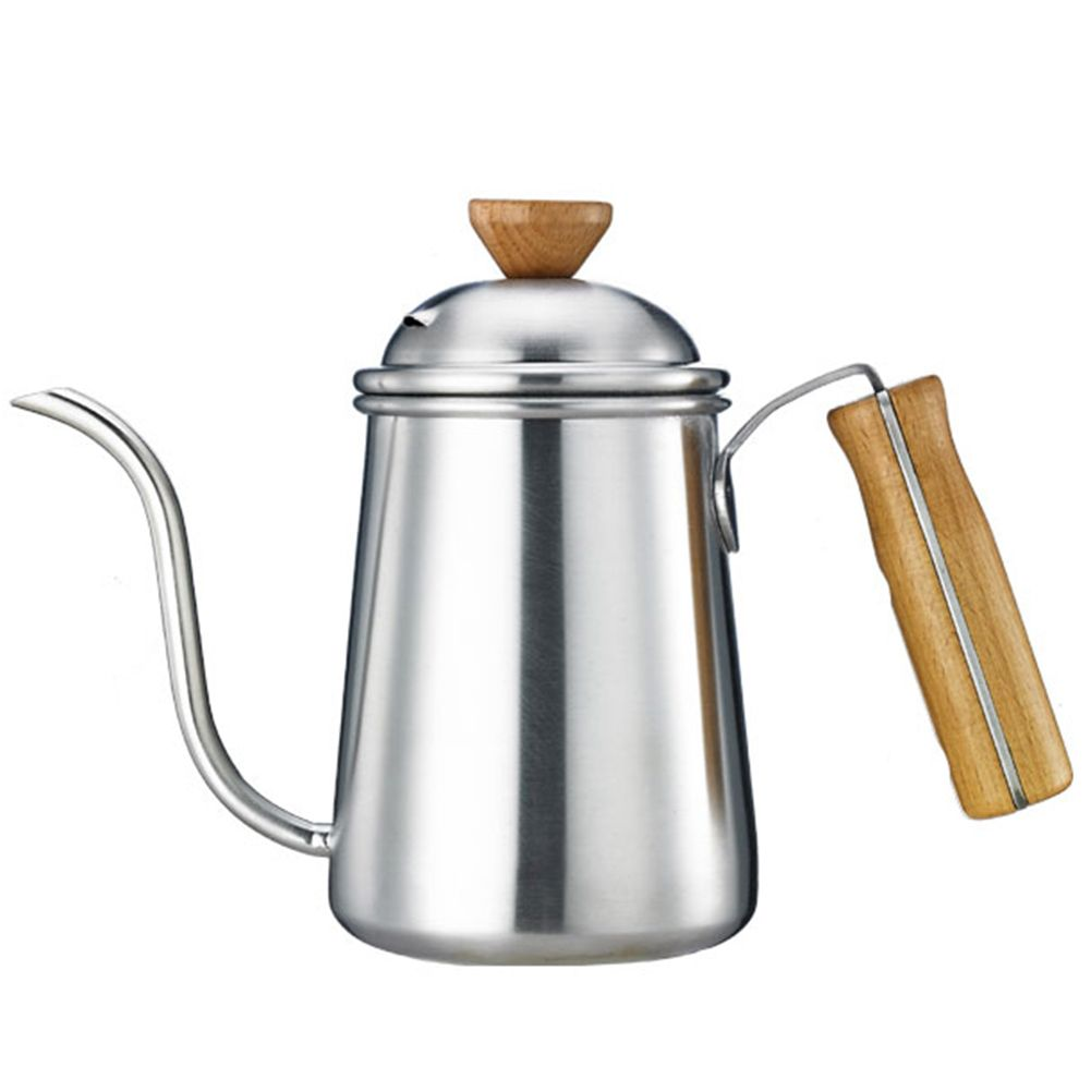 650 мл Гусенек носик залить Кофе чайник Чай горшок утолщение Нержавеющаясталь Средства ухода за кожей деревянная ручка длинная рот Посуда д...