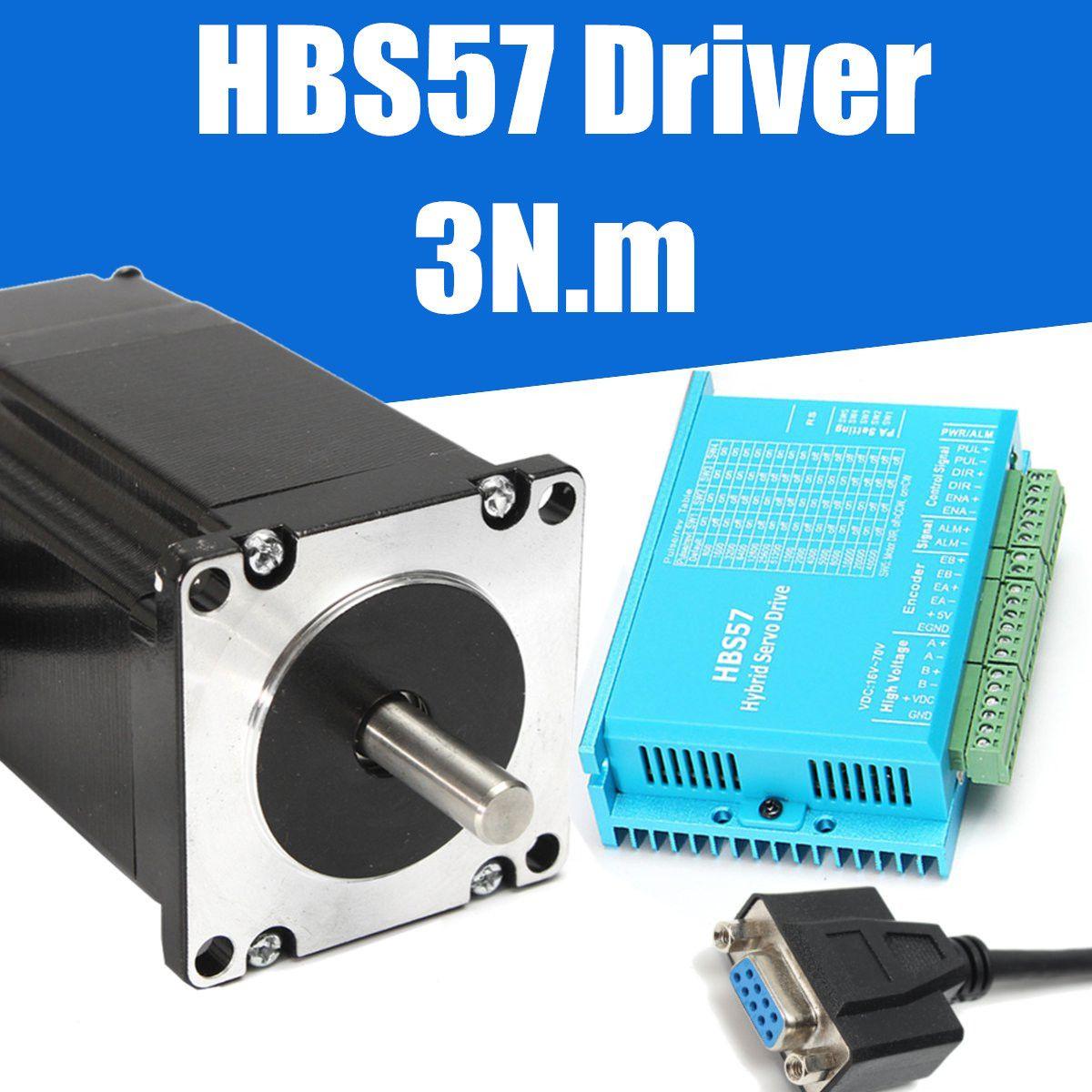 CNC HBS57 Hybrid Servo Driver Stepper Motor 3N.m Torque 57HSE2N-D25 Closed Loop