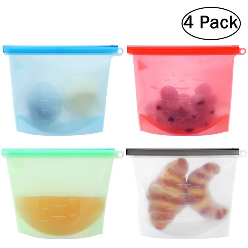 4pcs Kitchen Food Sealing Storage Bag Silicone Food Preservation Bag Containers Refrigerator Fresh Bags Versatile Cooking Bag