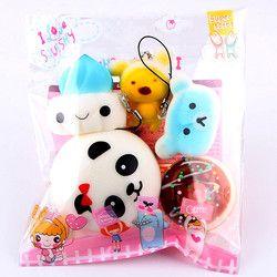Grosir Muqgew 5 Pcs Medium Hamburger Mini Lembut Empuk Roti Mainan Kunci Mainan Licin Lambat Rising Anak-anak Baru & Gag mainan