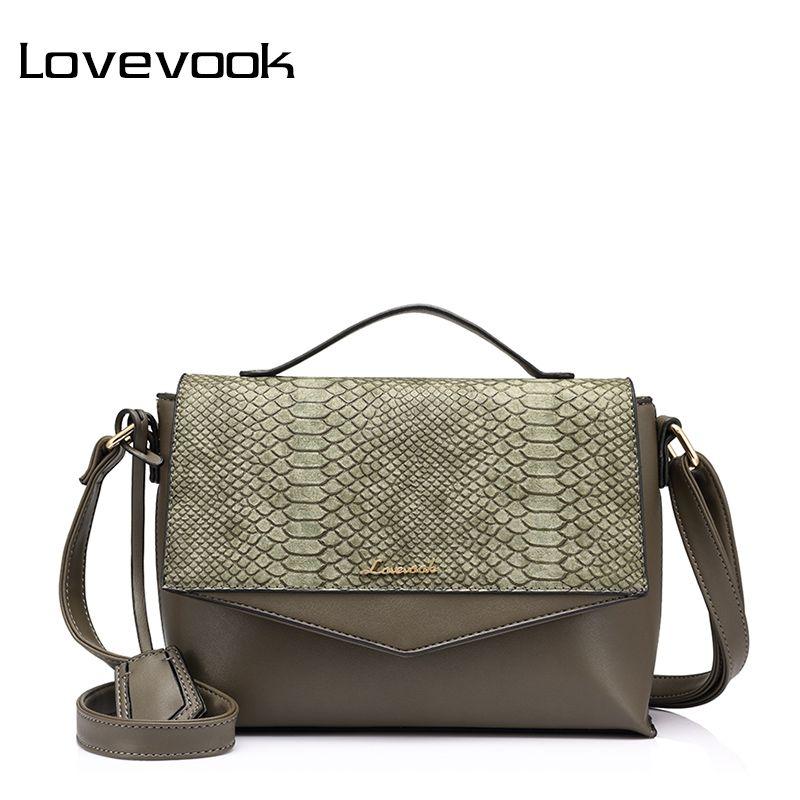 LOVEVOOK women handbags female shoulder crossbody bag small ladies messenger bags high quality with crocodile prints flap PU