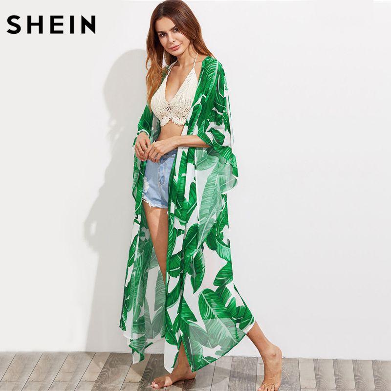 SHEIN Green Jungle Leaf Print Longline Poncho Kimono Women Summer Tops Three Quarter Length Sleeve Casual Kimono