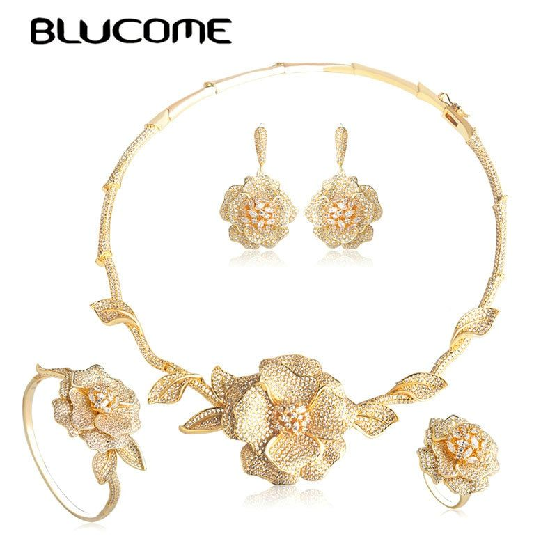Blucome Elegant Cubic Zirconia Necklace Earrings Bangle Ring Jewelry Set For Women Gold Color Flower Shape Wedding Accessories