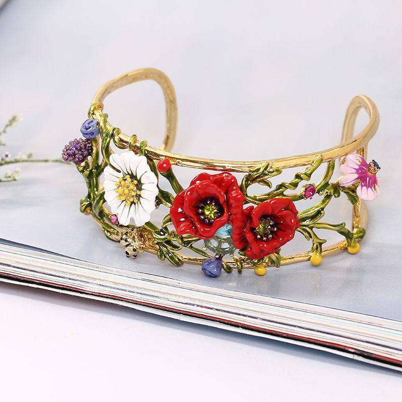 Plantas serie esmalte rojo rosa margarita cristal brazalete para mujer oro realmente plateado joyería El envío libre regalo del Día de San Valentín