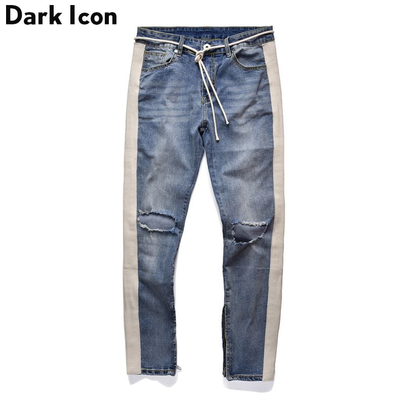 Side Stripe Patchwork Ripped Jeans Men Plus String 2018 New Fashion Destroyed Denim Pants 2 Colors