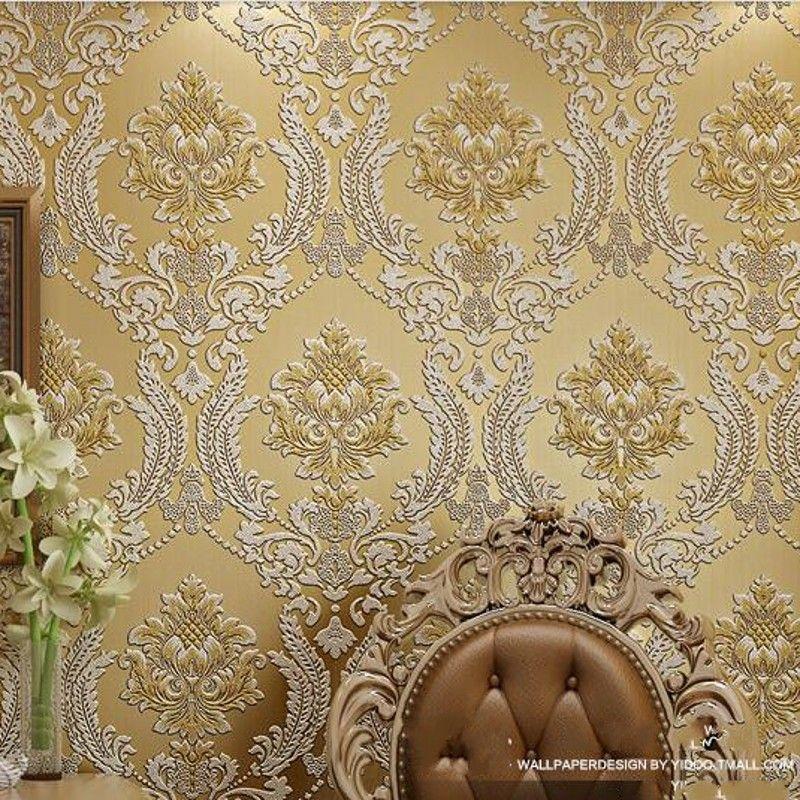 Beibehang роскошные классические настенные Бумага Домашний Декор стены фон дамасской обои золотой цветочный 3D бархат обои гостиной