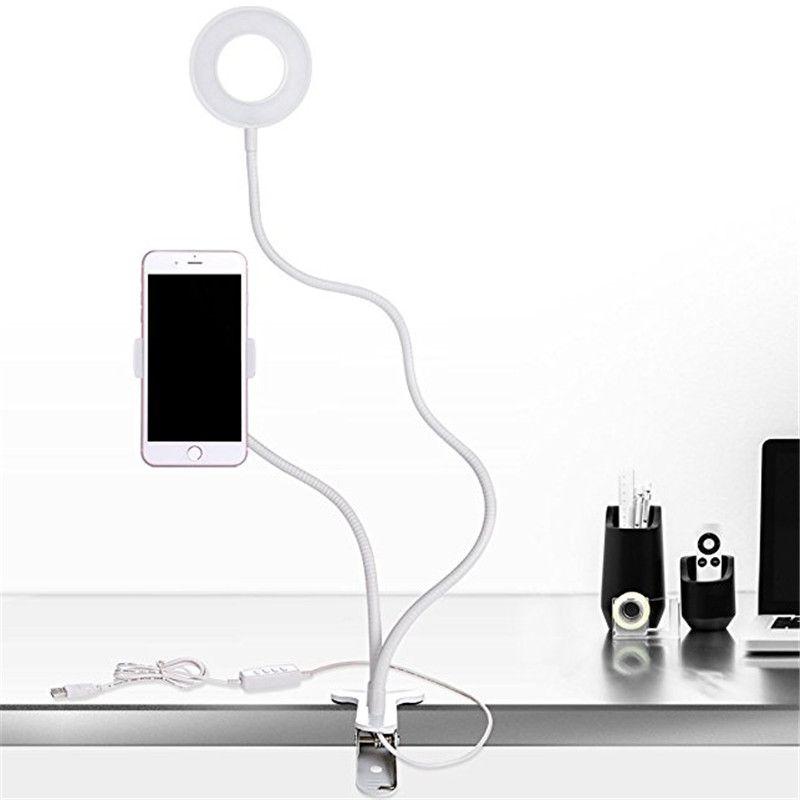 2 in 1 Lazy Phone Holder Selfie Ring Light For iPhone X 8 Plus Flexible Mobile Phone Clip Holder Bracket Desk Lamp LED Light