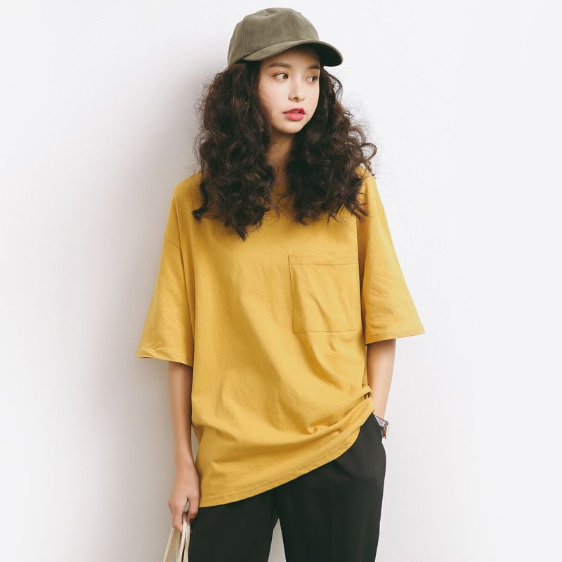 summer loose T-Shirts women Solid color Short Sleeve O-neck Pocket Cotton girls black blue and yellow t shirt A385