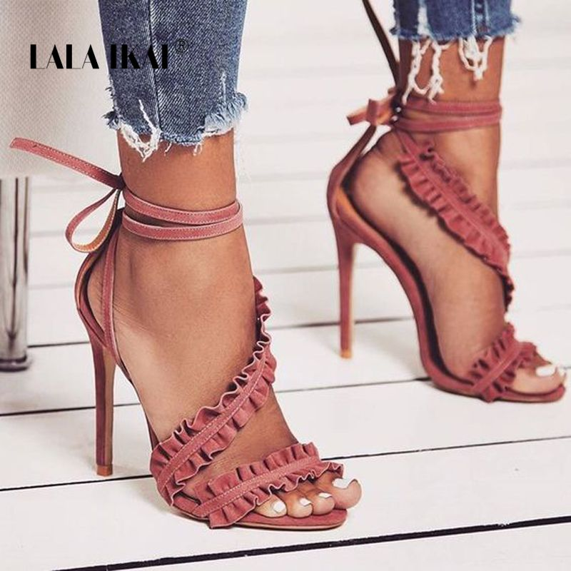 LALA IKAI Ankle Strap High Heels Sandals Women Ruffles Sandals Summer shoes Solid Lace-Up Chaussure Femme Talon 014C1021-5