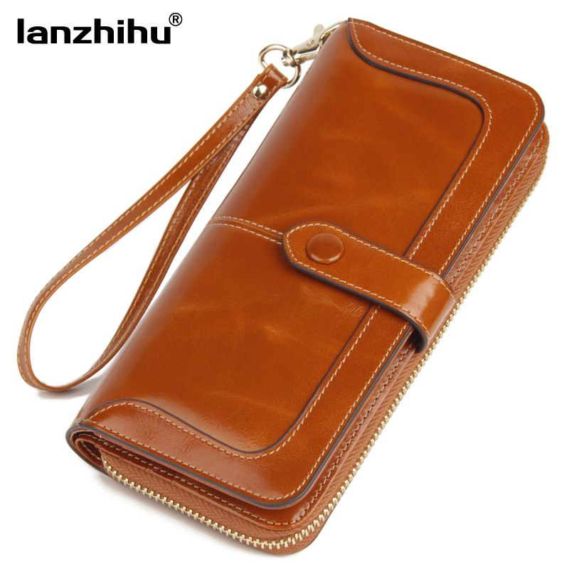 2017 New Women's Genuine Leather Wallet Female Zipper Wallets RFID Blocking Clutch Large Card Holder Phone Wristlet Coin Purse