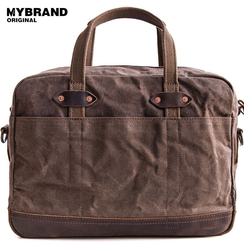 MYBRANDORIGINAL handbag vintage wax canvas bag large capacity of travel crossbody bag briefcase laptop men bag business bag B114