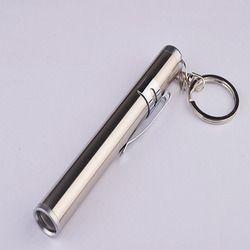 Super brillante mini linterna de bolsillo con clip de metal blanco y amarillo flash LED AAA mini llavero linterna mini antorcha