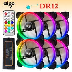 Aigo DR12, 3 шт., компьютерный корпус, вентилятор охлаждения для ПК, RGB, регулируемый светодиодный 120 мм, тихий + ИК-пульт, новый кулер для компьютер...