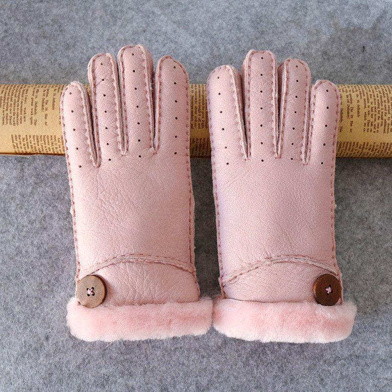 Women's gloves winter warm warm fashion sheepskin one thickening finger breathable sheepskin hand-sewn gloves