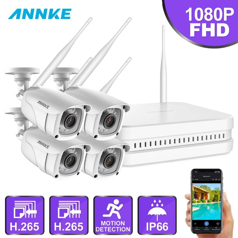 ANNKE 8CH 1080 P FHD Wireless NVR Video Überwachung System Mit 4X2 megapixel Kugel Outdoor Wetterfeste IP WIFI kameras Hause CCTV Kit