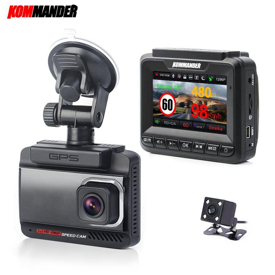 Kommander Car Radar Detector Built-in GPS Speed Anti radar 3 in 1 Full HD 1080P 1296P 170 Degree Video Recorders Dual Lens