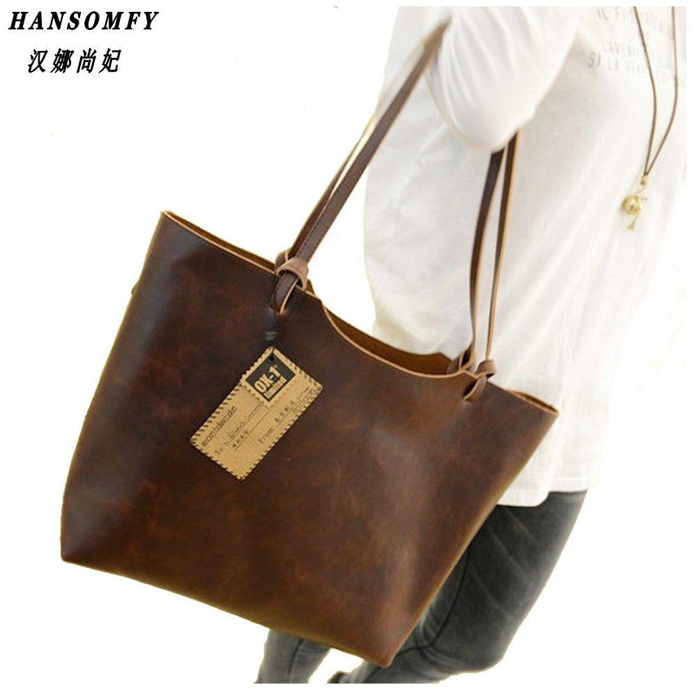 100% Genuine leather Women handbags 2017 New design women handbags vintage women shoulder bags large tote brown women bags
