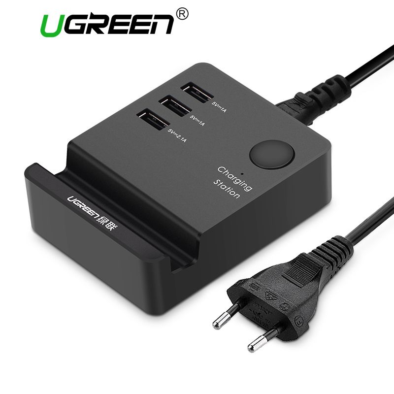 Ugreen 3 Ports phone charger Desktop USB Charger <font><b>Portable</b></font> Tarvel EU Plug Wall Charger Adapter for iPhone 6 Mobile laptop Charger