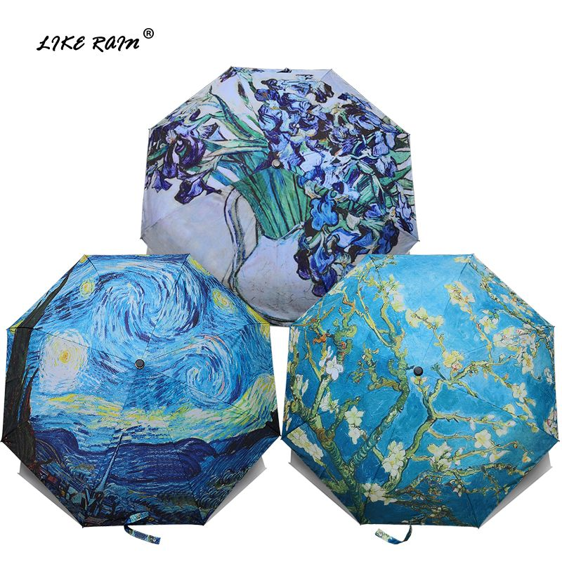 LIKE RAIN Brand Folding Umbrella Female <font><b>Windproof</b></font> Paraguas Van Gogh Oil Painting Umbrella Rain Women Quality Umbrellas UBY01