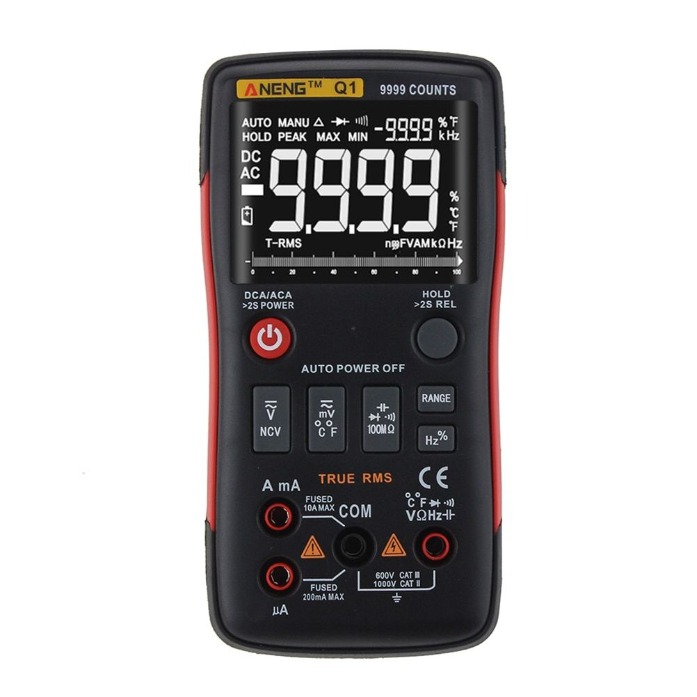 Q1 True RMS Digital Multimeter High Accuracy 9999 Counts Auto Rango Tester AC/DC Voltage Ohm Ammeter LCD Transistor Tester